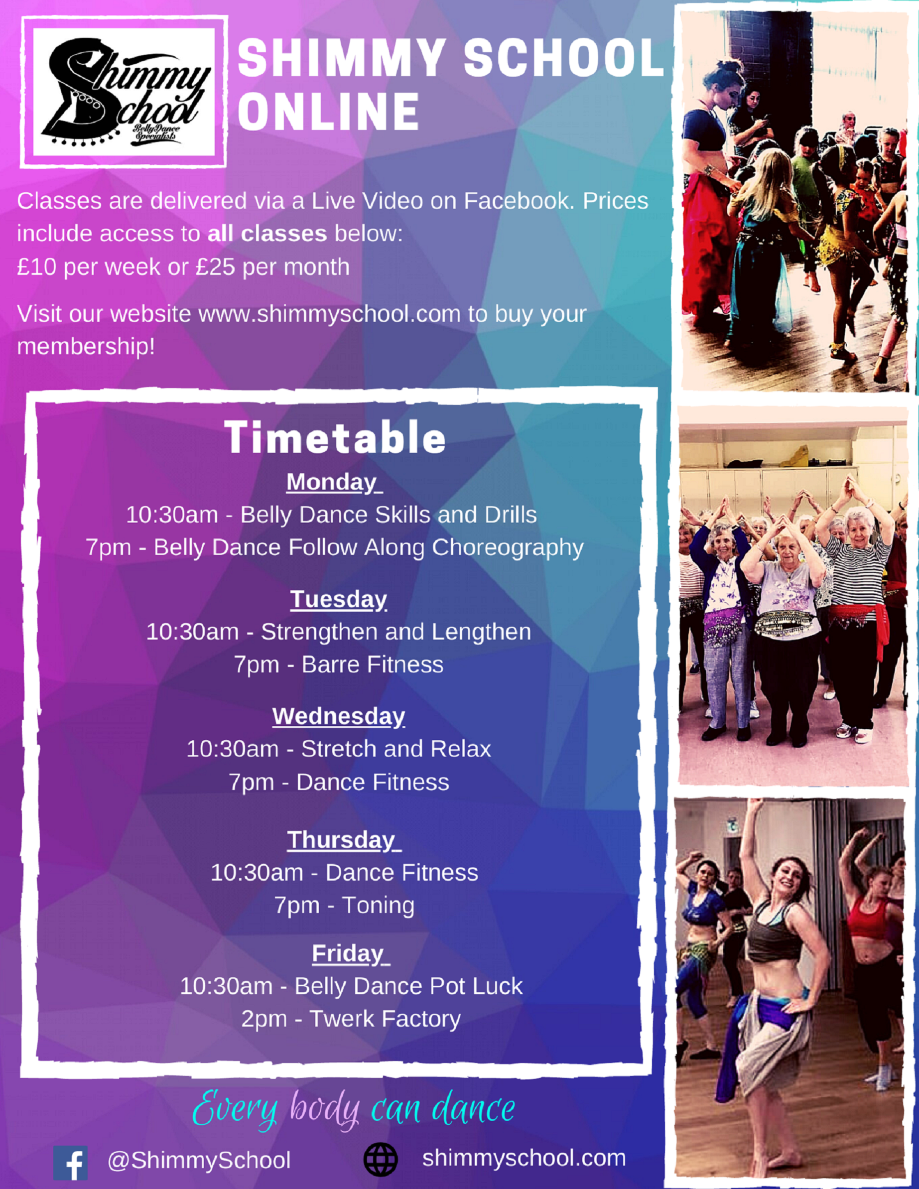 Shimmy School Belly Dancing Online Class Timetable