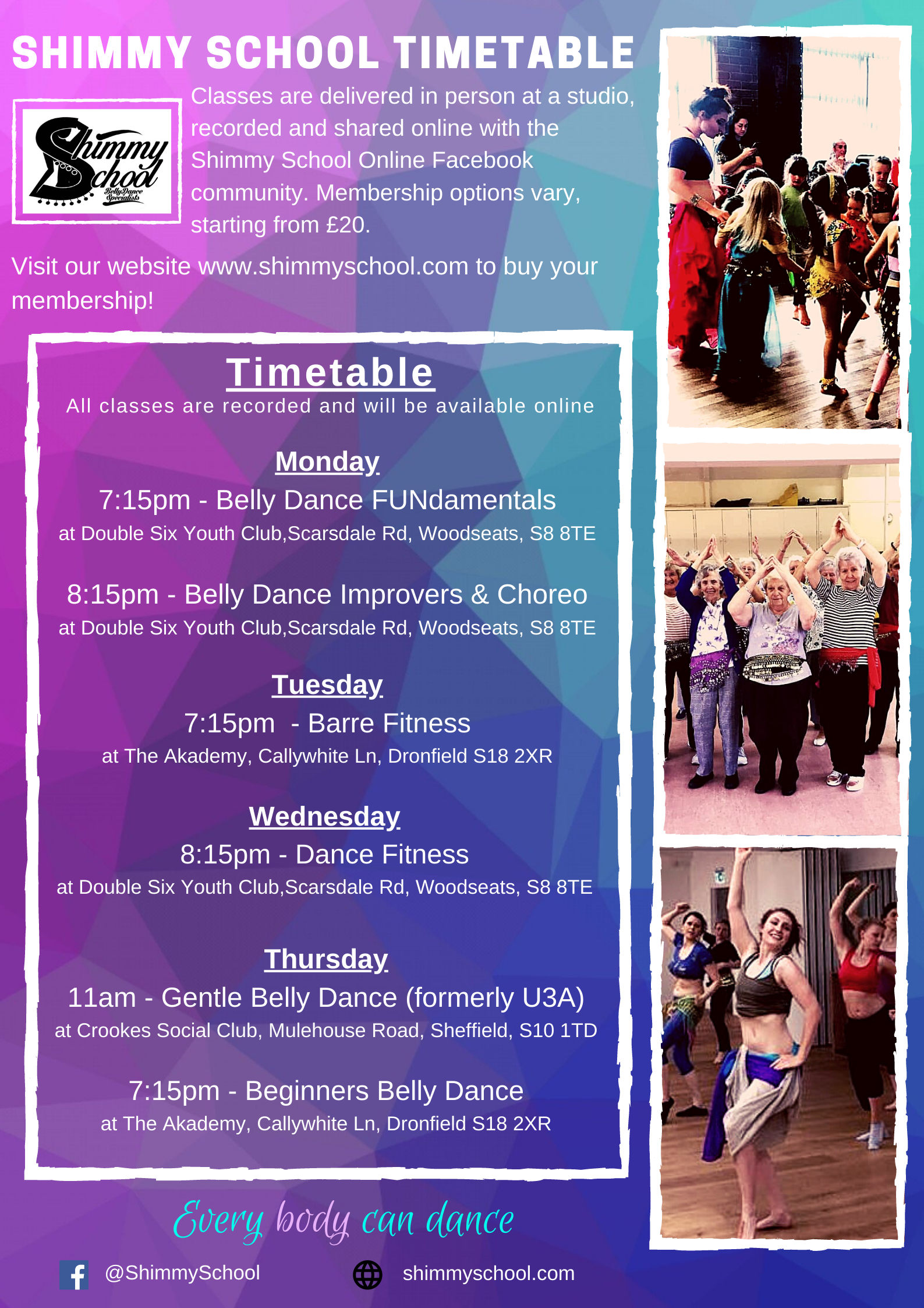 Sheffield Belly Dance Fitness Classes Timetable